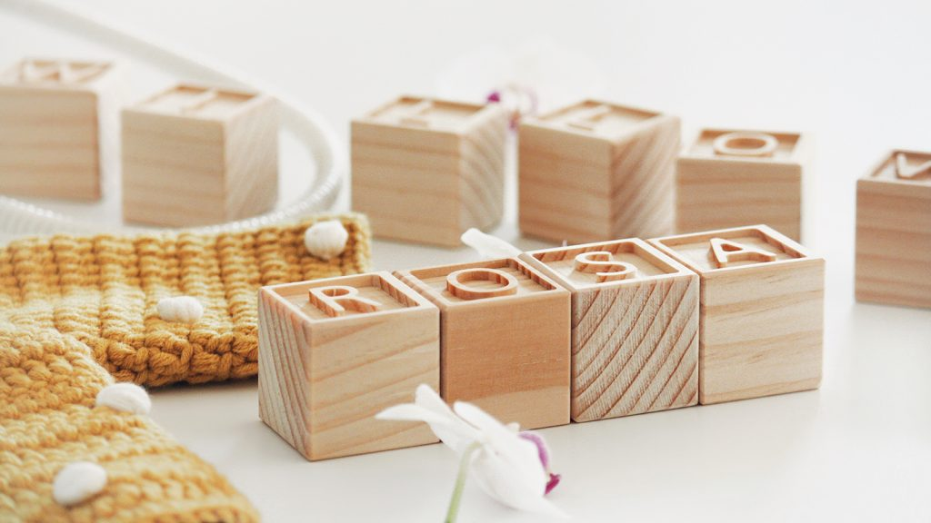 Letter blocks wooden enrgaved